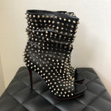 Christian Louboutin Nappa Guerilla Spiked Open Toe Booties Size 37.5