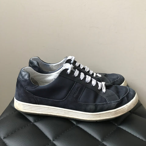 Prada Men's Navy Suede/Canvas/Leather Sneakers Size 8.5 (fits US 9.5-10)