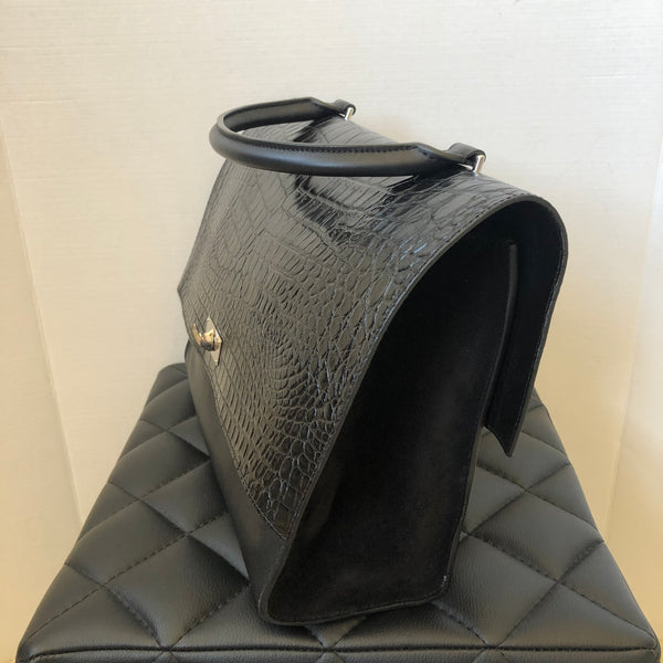 Givenchy Black Shark Tooth Croc Embossed Top Handle Shoulder Bag