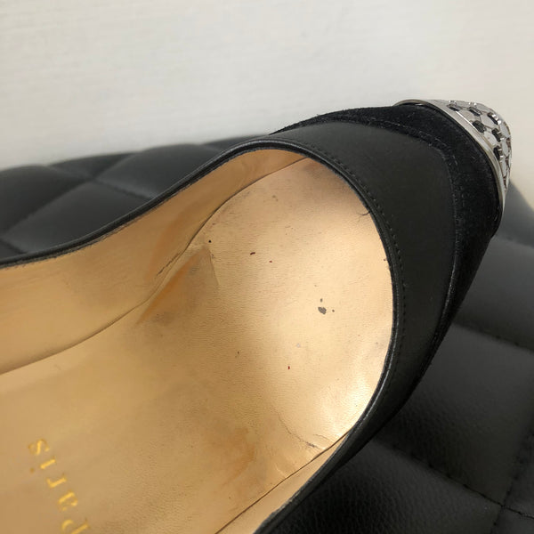 Christian Louboutin Black Suede/Leather Maggie Pumps Size 38.5