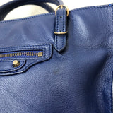 Balenciaga Blue Calfskin Mini Papier A4 Crossbody Bag