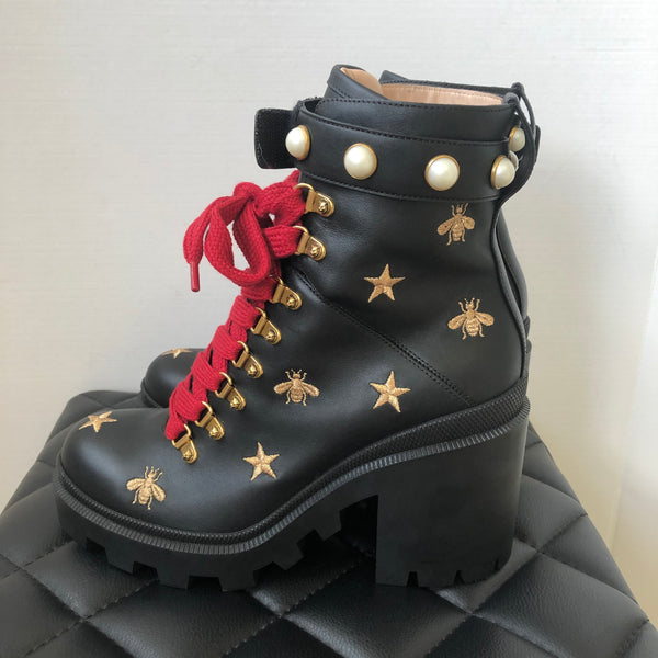Gucci Black Embroidered Bees/Stars Pearl Boots Size 39.5