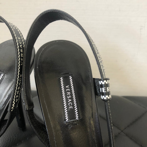 Versace Black/White Sandals Size 38.5