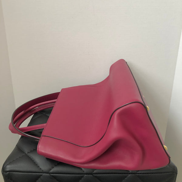 Fendi Medium Magenta Pink 2Jours Elite Textured-Leather Shopper Shoulder Bag