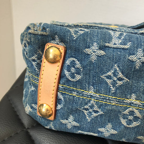 LOUIS VUITTON Blue Denim Baggy PM Shoulder Bag