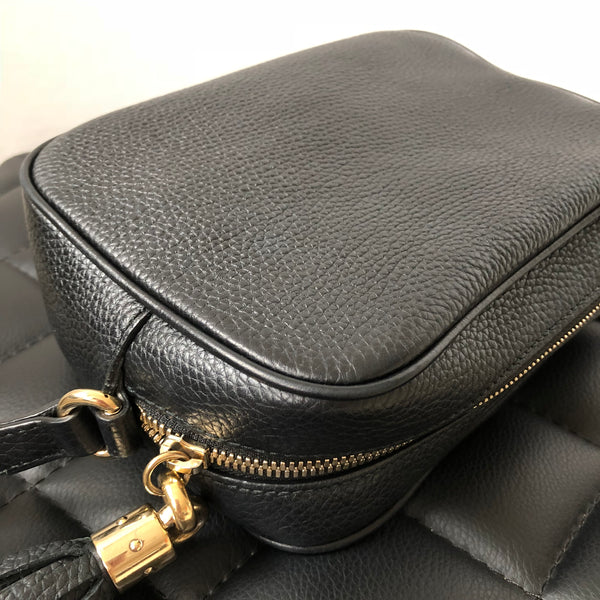 Gucci Black Grained Leather Disco Crossbody Bag