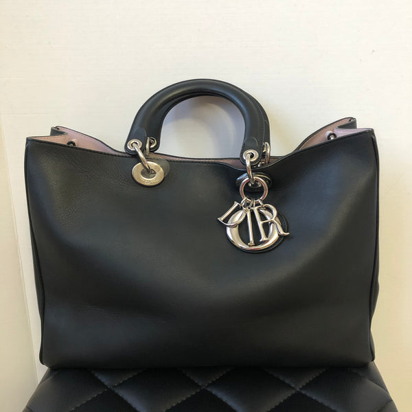 CHRISTIAN DIOR Black/Rose Poudre Smooth Calfskin Large Diorissimo Tote