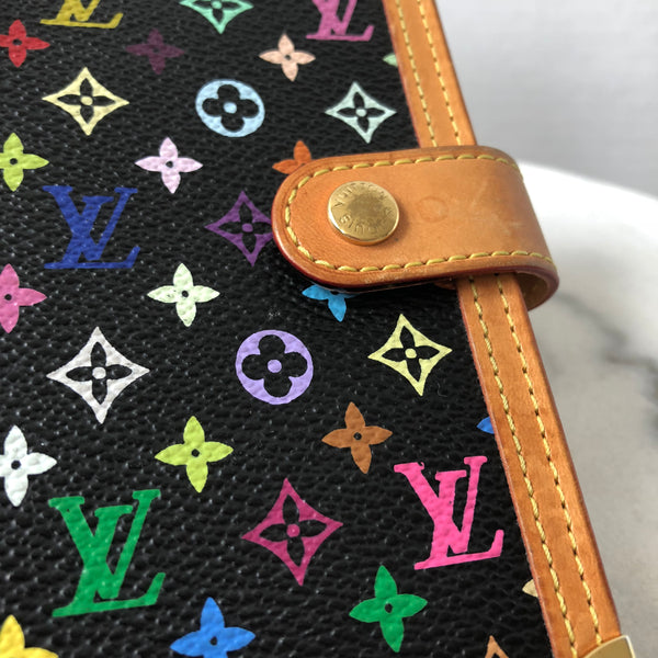 Louis Vuitton Black Multicolor Agenda PM