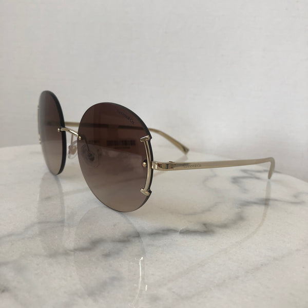 Tiffany T Pale Gold/Brown Shaded Round Sunglasses