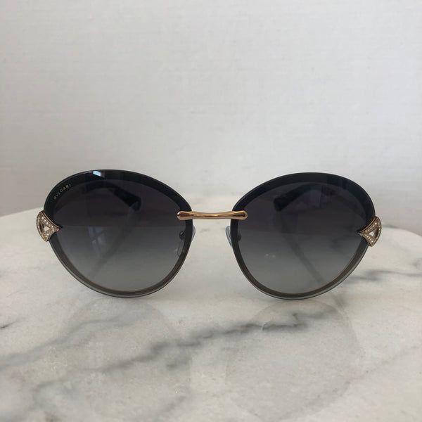Bvlgari DIVAS' DREAM Rose Gold/Grey Shaded Round Sunglasses