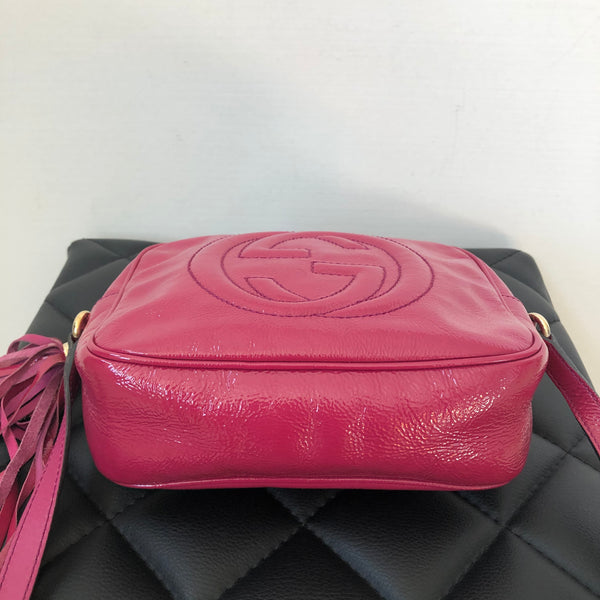 Gucci Pink Patent Soho Disco Camera Crossbody Bag