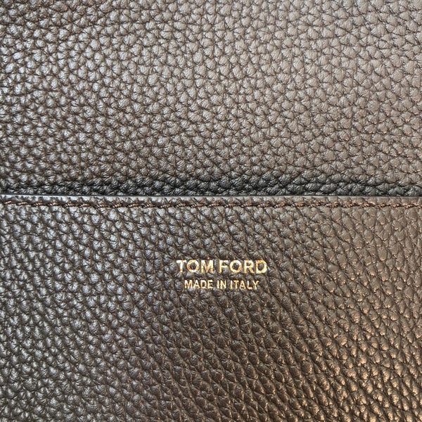 Tom Ford Dark Brown Grained Leather Double Strap Medium Jennifer Crossbody Bag
