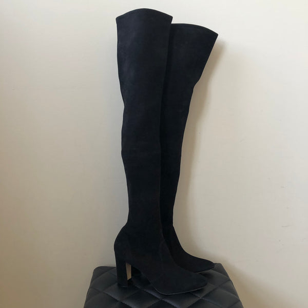 Manolo Blahnik Black Suede Pascalla 90 Over the Knee Boots Size 37.5