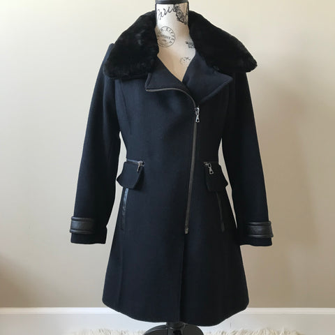 Trina Turk Navy With Black Shearling Collar Size 4