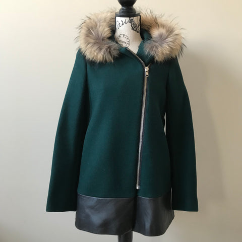 Sandro Dark Green Wool Jacket with Fur Collar and Leather Trim Size 38 (fits 4-6 US)