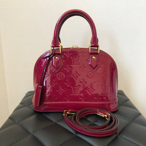 Louis Vuitton Alma BB Magenta Vernis Crossbody Bag