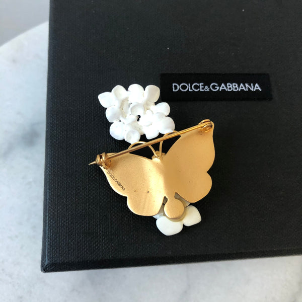 Dolce & Gabbana Real Crystal & Brass Butterfly Pin/Brooch