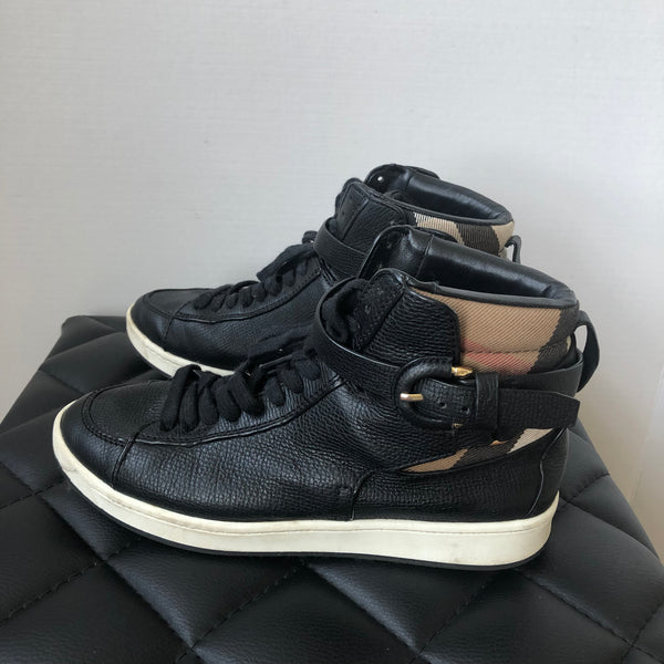 Burberry Black Check High Top Sneakers Size 36
