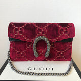 Gucci Red Dionysus GG velvet super mini Crossbody bag