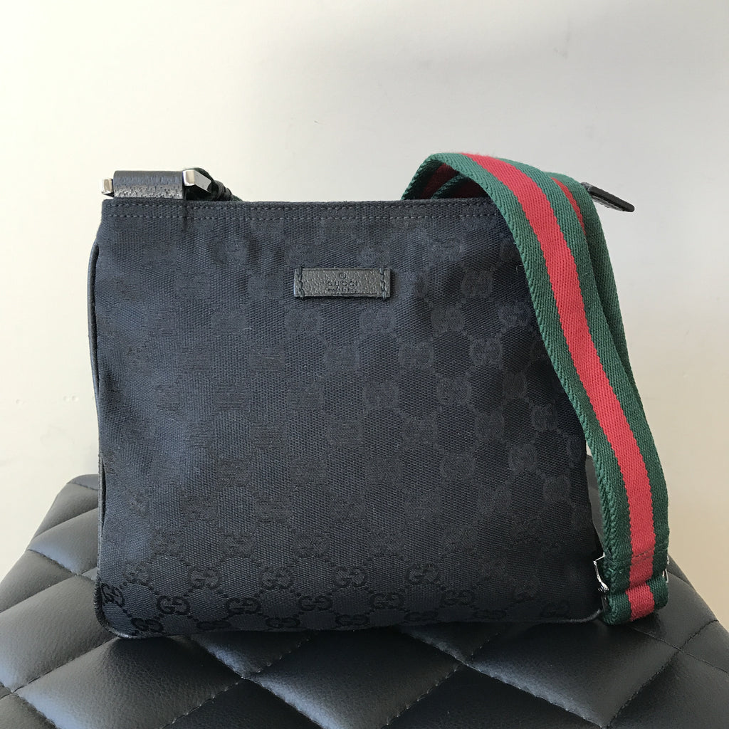 Gucci Small Black Canvas Messenger Bag   Forever Red Soles 9b96a70738