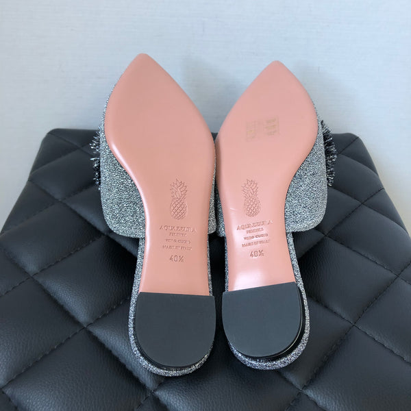 Aquazzura Metallic Powder Puff Backless Loafers Size 40.5