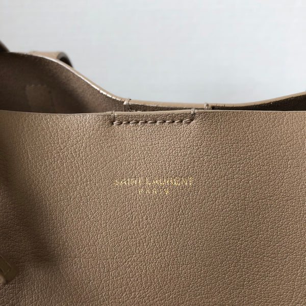Saint Laurent Taupe Large Shopping Tote with Pouch