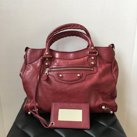 Balenciaga Burgundy Giant Velo Crossbody Bag