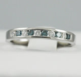 14k white Blue and White Diamond Anniversary Band, (0.25 tdw)