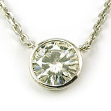 14k White Solitaire Moissanite Pendant w/ Chain