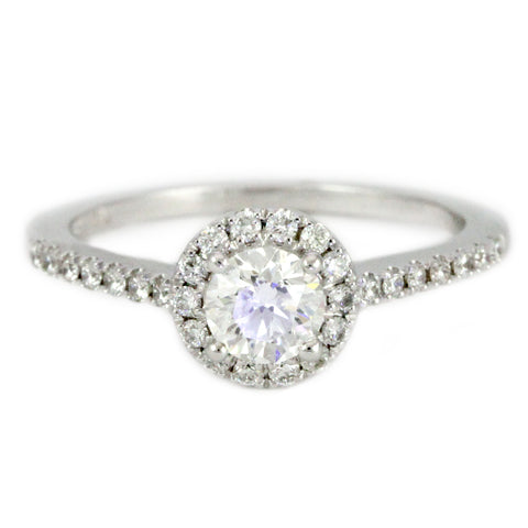14k White Gold Halo Design Engagement Ring, (0.65 tdw) #2294