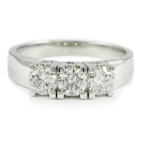 14kt. white gold 3-stone ring, (1.00 tdw) #2451