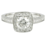 14k White Gold Halo Design Engagement Ring (1.46 tdw), #2889