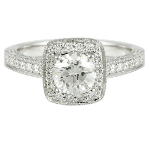 "<font color=""red""><b>SOLD</b></font><p>14k White Gold Halo Design Engagement Ring (1.46 tdw), #2889"