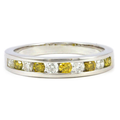 14kt. White Gold Yellow and White Diamond Anniversary Band, (0.50 tdw)