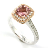 "<font color=""red""><b>SOLD OUT</b></font><p>14k White/Rose Gold Pink Tourmaline/Diamond Halo Ring #3608"