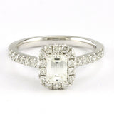 14k White Gold Emerald Cut Diamond Halo Engagement Ring (1.07 tdw)