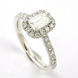 14k White Gold Emerald Cut Diamond Halo Engagement Ring, (1.07 tdw) #3609