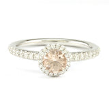14k White Gold Morganite Ring, (0.70 tdw)