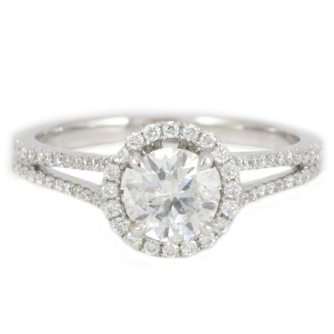"<font color=""red""><b>SOLD</b></font><p>14k White Gold Split Shank Halo style Diamond Ring, (1.00 tdw) #388"