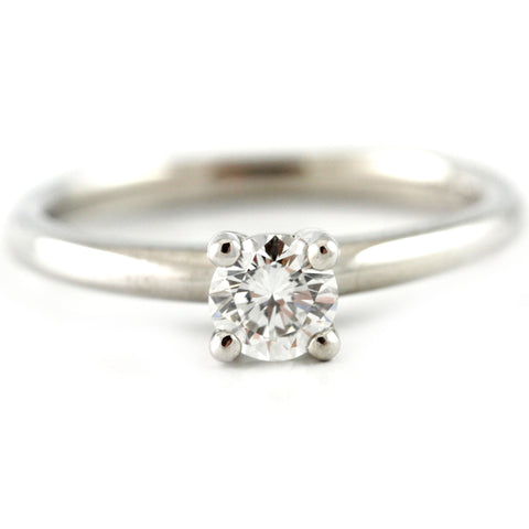 14K White Gold Sol. Round Brilliant Diamond Engagement Ring, (0.36 tdw) 00013574