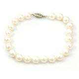 14K White Gold Cultured Pearl Bracelet