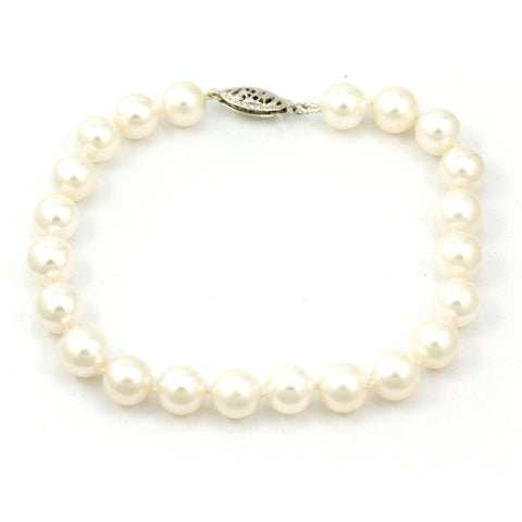 14K White Gold Cultured Pearl Bracelet #4380