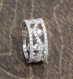 Vintage Antique Fancy 14k White Gold Diamond Eternity Ring