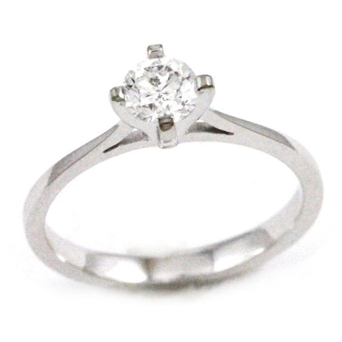 Vintage Antique 18k White Gold Solitaire Diamond Engagement Ring
