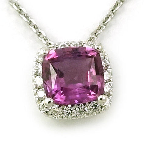Vintage Antique 14k White Gold Purple Sapphire and Diamond Pendant