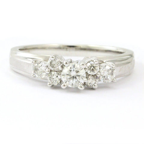 Vintage Antique 14k White Gold 7-Stone Diamond Engagement Ring, 0.55 ct.