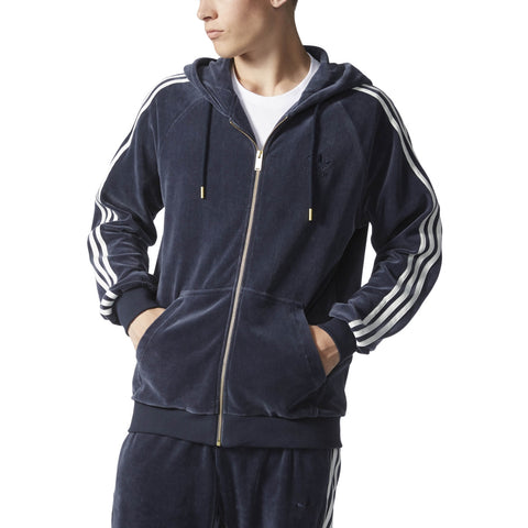 ADIDAS VELOUR ZIP HOODIE MENS APPAREL