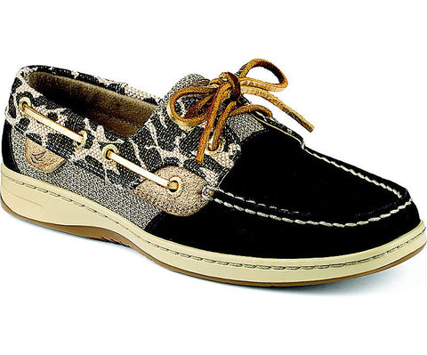 WOMENS SPERRY BLUEFISH LEOPARD SHIMMER 2-EYE BOAT SHOES