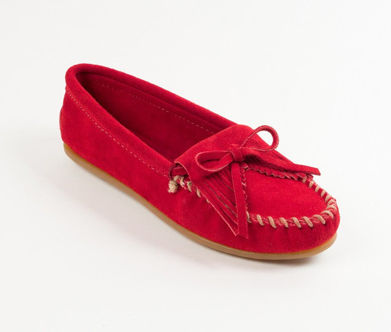 MINNETONKA 406-RED KILTY SUEDE WOMENS MOCCASINS