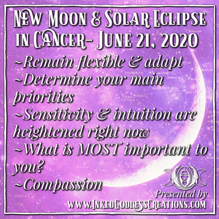 New Moon + Solar Eclipse in Cancer- June 21, 2020